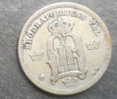 Sweden  1874 10  Ore Silver Coin Nice Better detail