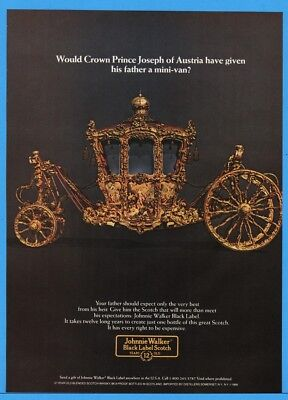 1986 Johnnie Walker Black Crown Prince Joseph Austria Gold Carriage Print Ad