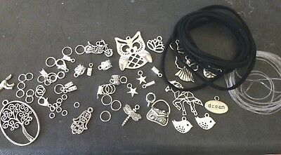 Beading Earring Kit  Charms, Suede Cord,  Charm Bails,Clamps Jump Rings Elastic