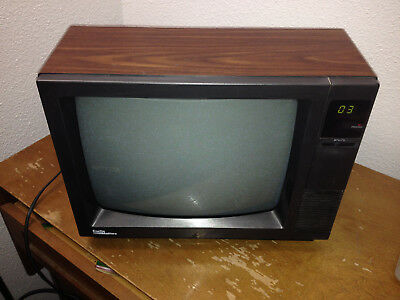 """Vintage CURTIS MATHES 13"""" Color Television CRT, Wood Grain, Gaming Retro TV 1989"""