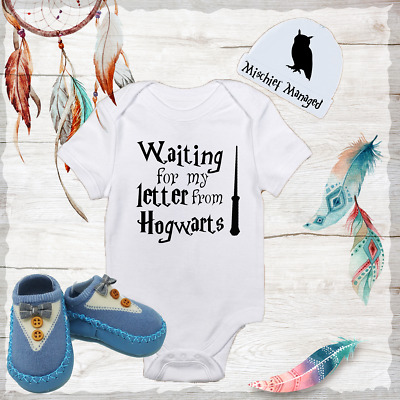 Hogwarts Harry Potter Baby Boy Clothes Onesies Hat Beanie Blue Shoes Shower  Gift 7202a82f23f
