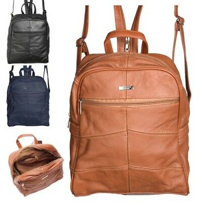 Ladies Womens Large Genuine Soft Real Leather Backpack Rucksack Black Navy Tan