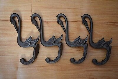 vintage iron old Coat Hook craftsman house clothes bath robe hanger rustic 4 pcs