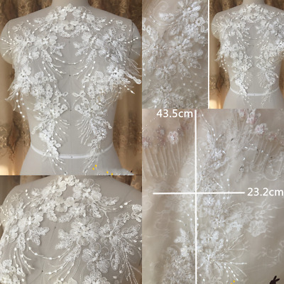 1 Pair Lace Applique Trim Embroidery Sewing Motif DIY Wedding Bridal Crafts