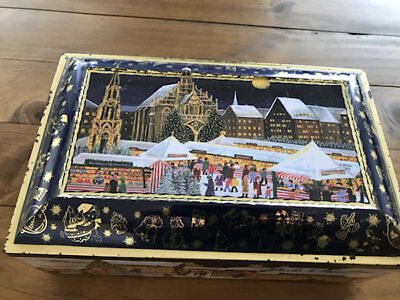 A Wonderful Vintage Xmas Tin Filled With Flocked Decorations!
