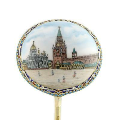 Antique Russian Saltykov Silver Pictorial - Cloisonné Enamel Serving Spoon 1895