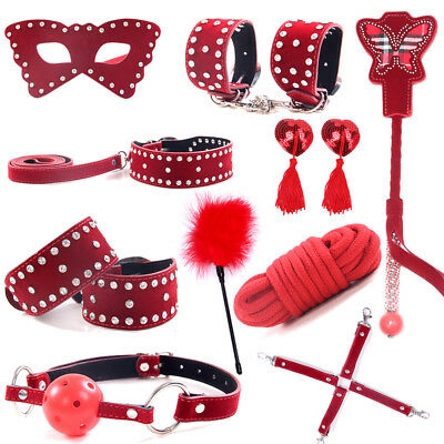 New Under Bed Bandage Set Collar Whip Cuffs Rope Restraint System Slave Kit