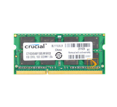 Crucial 8GB 8 GB 2Rx8 PC3L-12800S SODIMM RAM Laptop Memory DDR3L 1600Mhz PC12800
