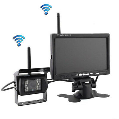 """7"""" LCD Monitor+Wireless Rear View Backup IR Camera Night Vision For RV Truck Bus"""