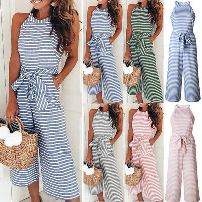AU Women Halter Neck Playsuit Long Jumpsuit Stripe Wide Leg Trousers Culotte