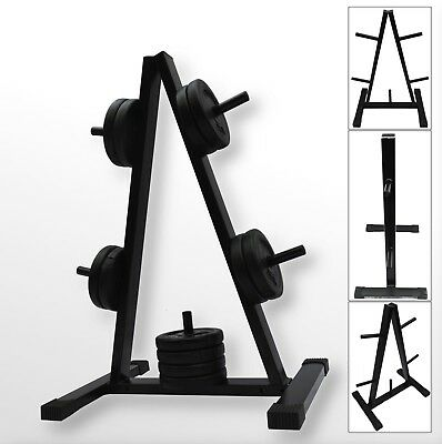 "BodyRip 1"" Standard Weight Barbell Disc Plate Rack Stand Holder Tree Gym Storage"