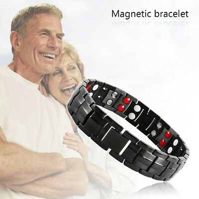 Mens Titanium Super Strong Anion Magnetic Therapy Bracelet Bio 12 Magnets