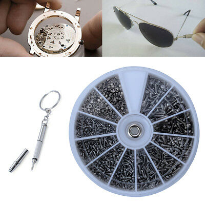 1000Pcs Clock Watch Screw Nuts Screwdriver For Eye Glasses Spectacles Repair Kit