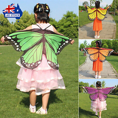 1PC Kids Fairy Wings Butterfly Shawls Fancy Dress Up Costume Party Pretend Play