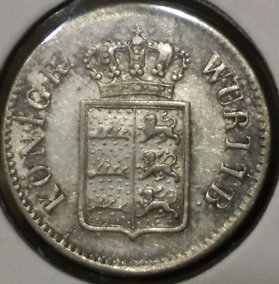 Wurttemberg 3 Kreuzer 1855 Silver  Coin Germany German State