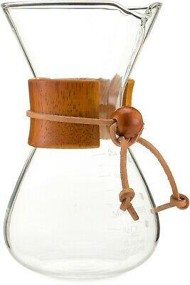 Pour Over Coffee Maker Brewer Glass Carafe Borosilicate With Real Wood Sleeve