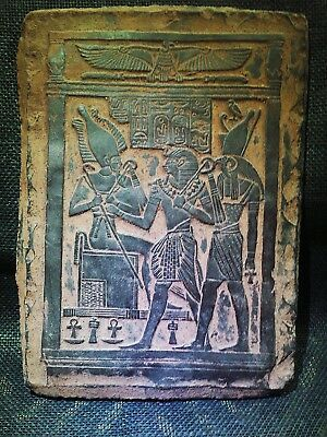 EGYPTIAN ARTIFACT ANTIQUITIES Osiris on the Throne Stela Relief 1216-1232 BC