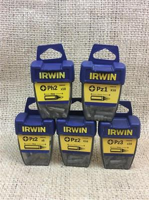 CLEARANCE LOT IRWIN SCREWDRIVER BITS PACKS OF 10 PZ1 PZ2 PZ3 PH2 25 OR 50mm LONG