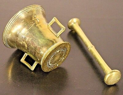 Heavy antique bronze mortar and pestle original European 18/19th century brass