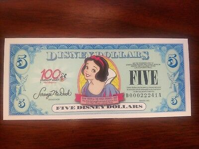 "Disney 5 Dollars, 2002 Series ""DA"" Disneyland Snow White Uncirculated 5 digit"
