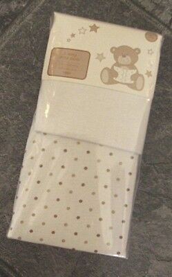 Ex store pair of cream 100% jersey cotton fitted unisex cot sheets New in packet
