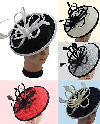 Large Flower Feather Hair Hat Fascinator Headband Clip Wedding Royal Ascot Race