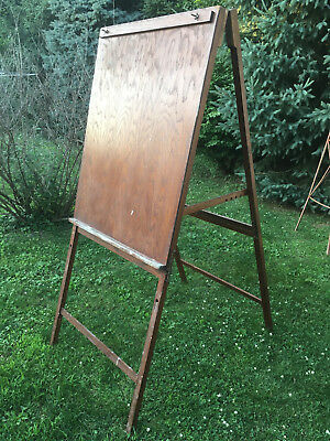 Large Antique Folding Wood & Brass Art Painting Easel Drafting Table -Adjustable
