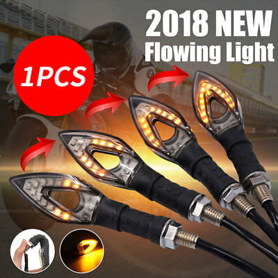 Flowing LED Motorcycle Turn Signal Light Amber Light Bulb Black Replacement