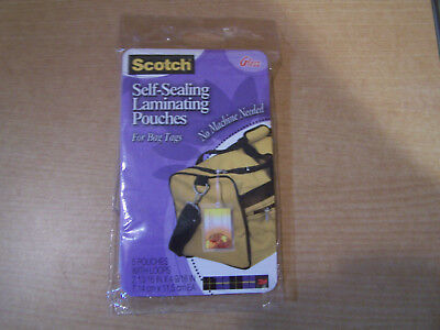 Scotch Self Sealing Laminating Pouches (5) pouches with loops NEW Sealed