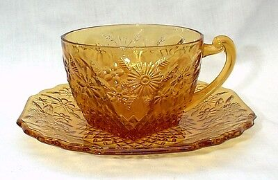 Pineapple & Floral 618 Amber Cup and Saucer Sets Depression Glass