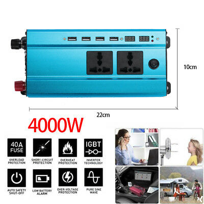 Car 4000W Peak Power Inverter LED Display 24V DC to 220V AC Sine Wave Converter
