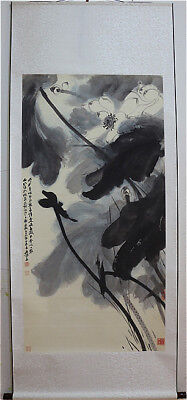 Excellent Chinese Hand Painting & Scroll Lotus By Zhang Daqian 张大千 EDC0801