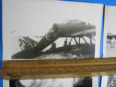 "Japanese Wwii Plane Aichi E13A Jake Village 4.5 X 3"" Photo Lot Original"