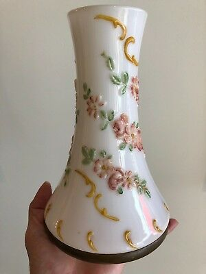 Antique Old Victorian Kerosene Oil Lamp Shade  Hand  Painted Lovely
