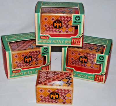 Mensa Wooden Japanese Puzzle Magic Trick Box 12 Steps New Sliding Gift Box