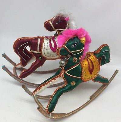Christmas Ornament Rocking Horse SET 2 Colorful Embroidery Carousel Pony Decor