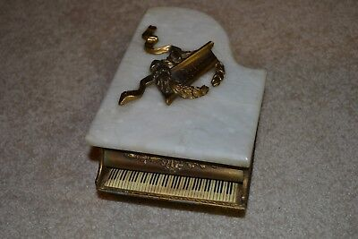 Antique Piano Music Box Brass & Marble Wood Working Plays Restoration FREE SHIP