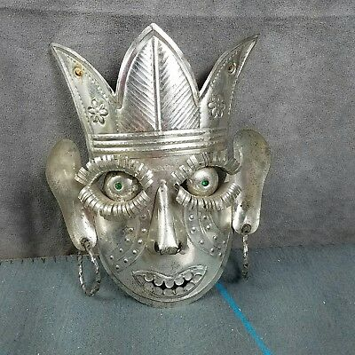 Vintage Metal Decorative Mask Wall Art Decor Made In Mexico