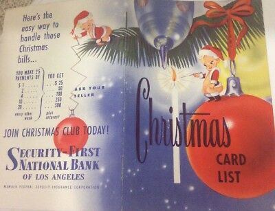 1952 Security First National Bank Of LA Christmas Card List Mary McAdoo Ad Rare