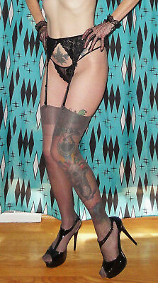 Vintage Black Lace Garter Belt & Stocking Set M-L pinup clothing girl retro 1950