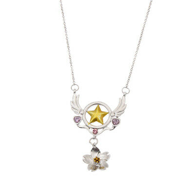 Anime Card Captor Sakura Necklace Silver Chain Cosplay Pendant Women Jewelry