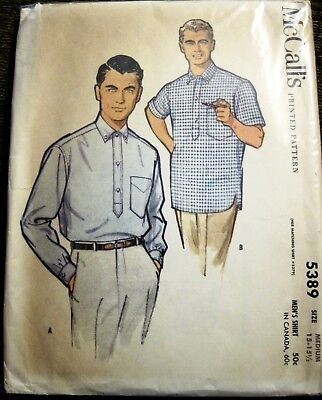 Vintage 1960 McCall's Men's Casual or Dress Shirt Pattern 2 Sleeve Lengths Med.