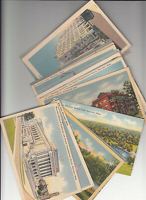 Lot of 20 Vintage Era Linen Postcards Worcester County MASS MA Massachusetts