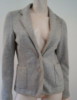 ZARA Woman Pale Grey Shot With Cream Wool Blend Casual Blazer Jacket EU:L BNWT