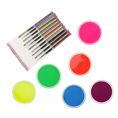 6 Color Face Body UV Paint Palette Brushes Set for Halloween Party Make up