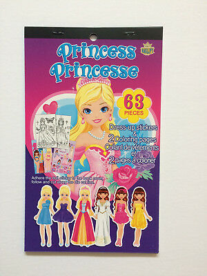 Princess Stickers Dress Up Paper Dolls Colouring Pages Kids Craft Kit Activity