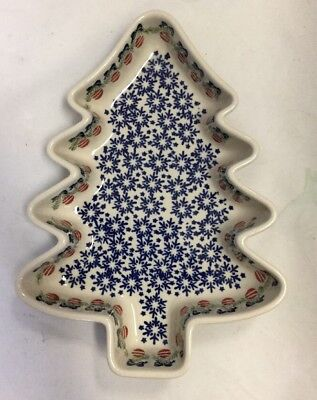 New Boleslawiec Polish Pottery Christmas Tree Candy Dish Ornament Pattern