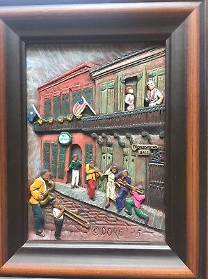 Dore Hand Painted Woodgraph New Orleans Preservation Hall & Pat O'Brien's