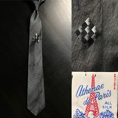"Athenae de Paris ""Squares"" Dark Gray Metallic Silk Slim Tie EUC VTG 1950s 1960s"