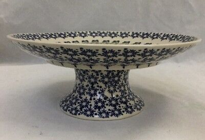 NEW Boleslawiec Polish Pottery Christmas Pedestal Cake Stand Ornament Snowflake